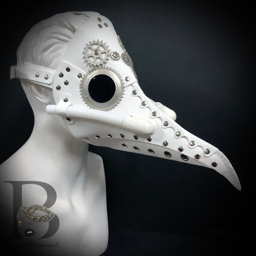 Men's Masks: Plague Doctor Masks - Raven Bird Mask White Masquerade Mask Head Harness Backing Silver Details