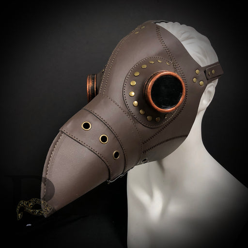Men's Masks: Plague Doctor Masks - Steampunk Mask Brown Raven Bird Masquerade Mask Head Harness Mask with Long Nose Beak