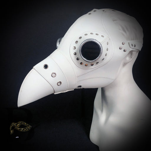 Men's Masks: Plague Doctor Masks - Raven Bird Mask White Masquerade Mask Harness Backing