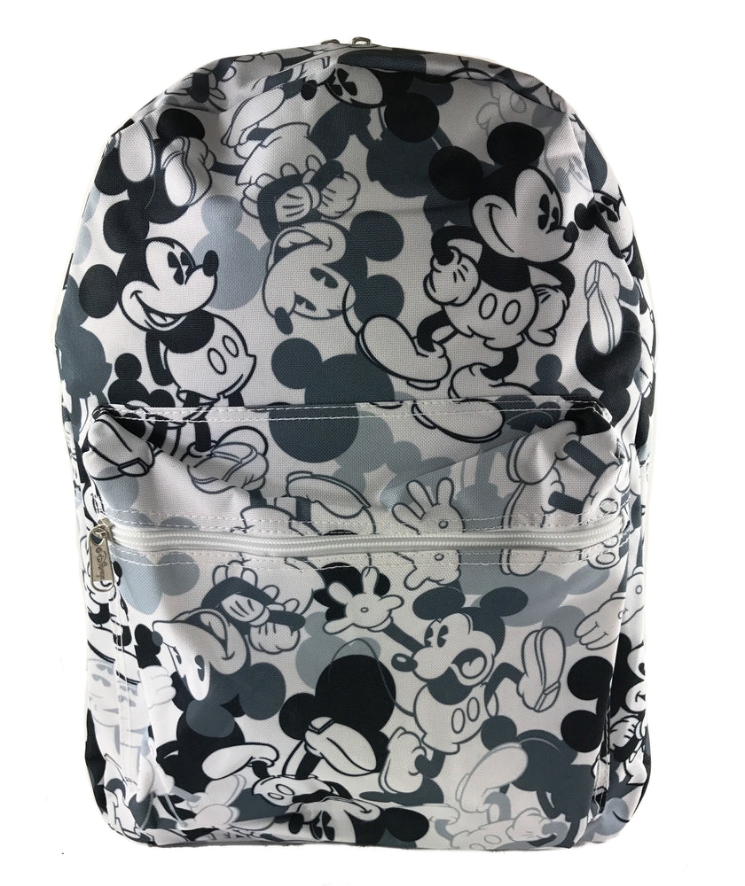"Disney Mickey Mouse All over Print 16"" Backpack - White & Black"