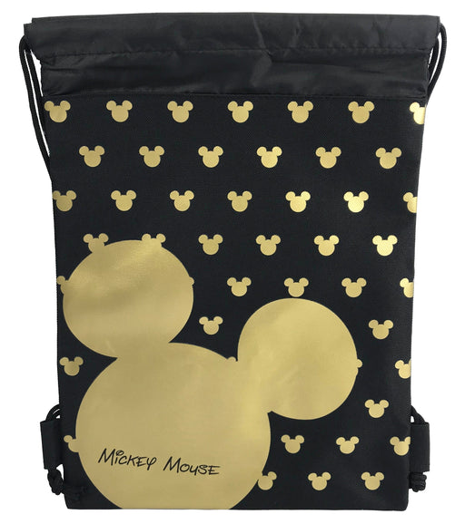 Gold & Silver Mickey Mouse Head Drawstring Backpack Gym Tote Bags