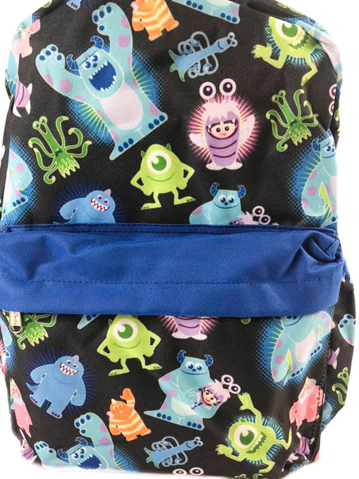 "Pixar Monster University All over Print 16"" Canvas Black & Blue Backpack"