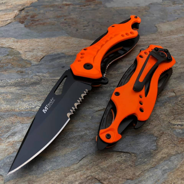 M-Tech Spring Assisted Neon Orange TI-Coated Aluminum Tactical Rescue Pocket Knife! MT-A705NOR