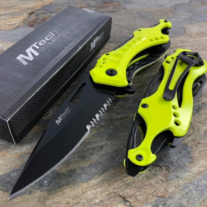 M Tech Spring Assisted Neon Yellow Ti Coated Aluminum Tactical Rescue Beyond Toy Store