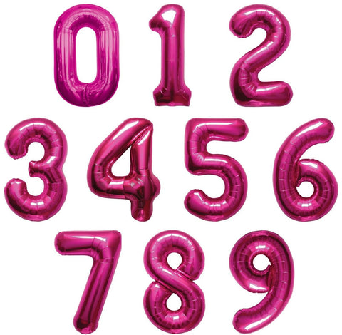 "Giant 34"" Mylar Hot Pink Foil Number Balloons"