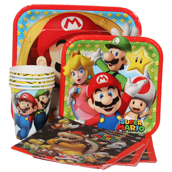 Super Mario Brothers Party Express Pack for 8 Guests (Cups Napkins & Plates)
