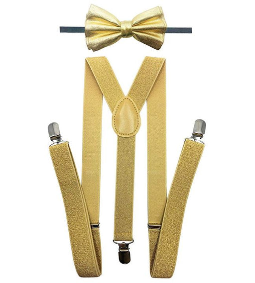 Adult Matching Set - Metallic Soft Gold  Suspender and Bow Tie