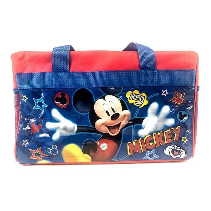 Disney Mickey Mouse 600D Polyester Blue & Red Duffle Bag PVC with Side Panels