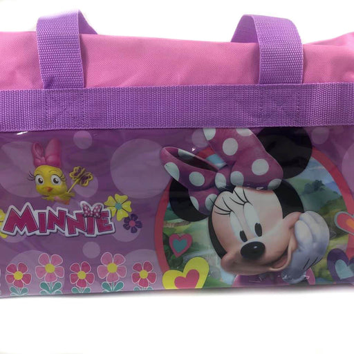 Disney Minnie Mouse 600D Polyester Pink Duffle Bag PVC with Side Panels
