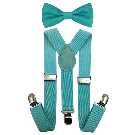 Kids Matching Set - Mint Blue Toddler Suspender and Bow Tie