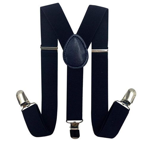 Kids Matching Set - Navy Blue Toddler Suspender and Bow Tie