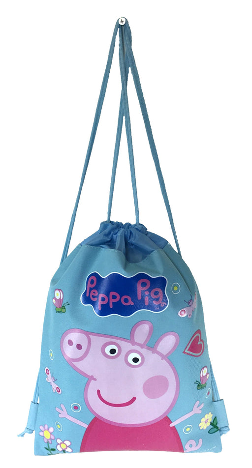 Blue Peppa Pig Drawstring Backpack School Sport Gym Bag