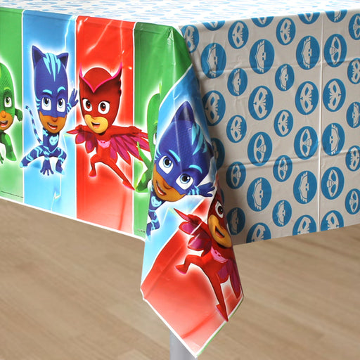 PJ Masks - Birthday Table Cover Measures 54 in x 96 in, 36 sq ft