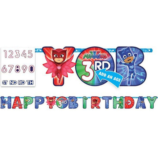 PJ Masks - Add an Age Happy Birthday Jumbo Letter Banner Kit