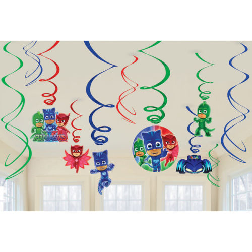 PJ Masks Hanging Swirls Decoration Birthday Party Supplies Dangler Pack of 12