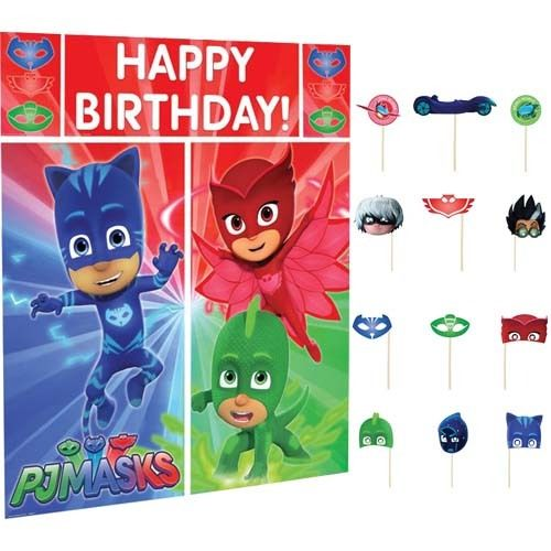 PJ Masks - WALL BANNER DECORATING KIT 5pc + 12 Photo Props! photo background