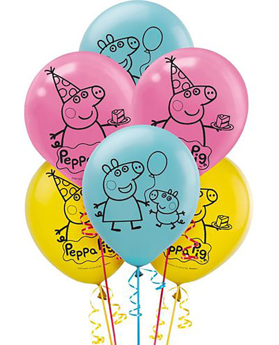 Peppa Pig Latex Balloons (6ct) Birthday Party Supplies 12""