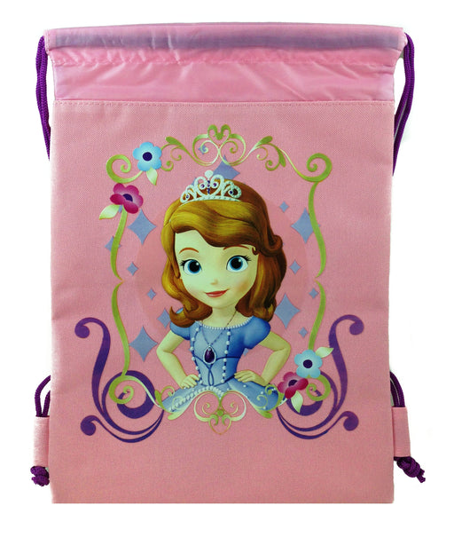Disney Sofia The First Drawstring Backpack Gym Tote Bags