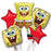 Spongebob Square pant Happy Birthday Party Favor 5CT Foil Balloon Bouquet