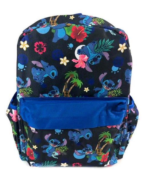 "Disney Lilo & Stitch - All over Print 16"" Canvas Black & Blue A16554 Backpack"