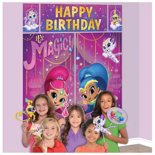 Shimmer & Shine - WALL BANNER DECORATING KIT 5pc + 12 Photo Props! photo background