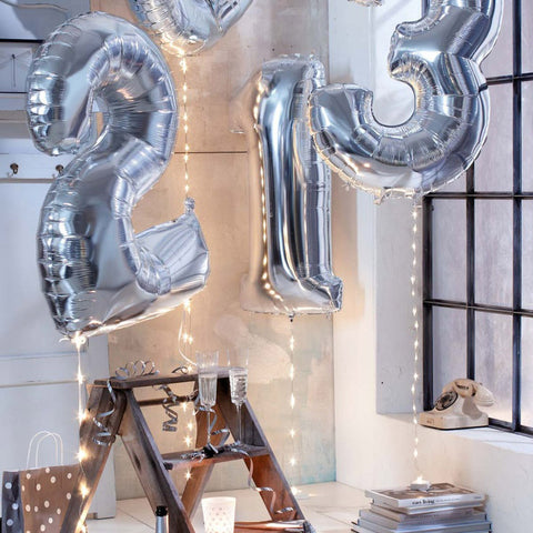 "Giant 34"" Mylar Silver Number Foil Balloons"