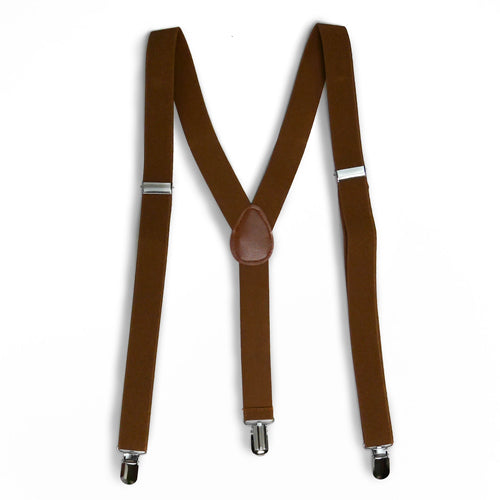 Brown Matching Set Suspender and Bow Tie