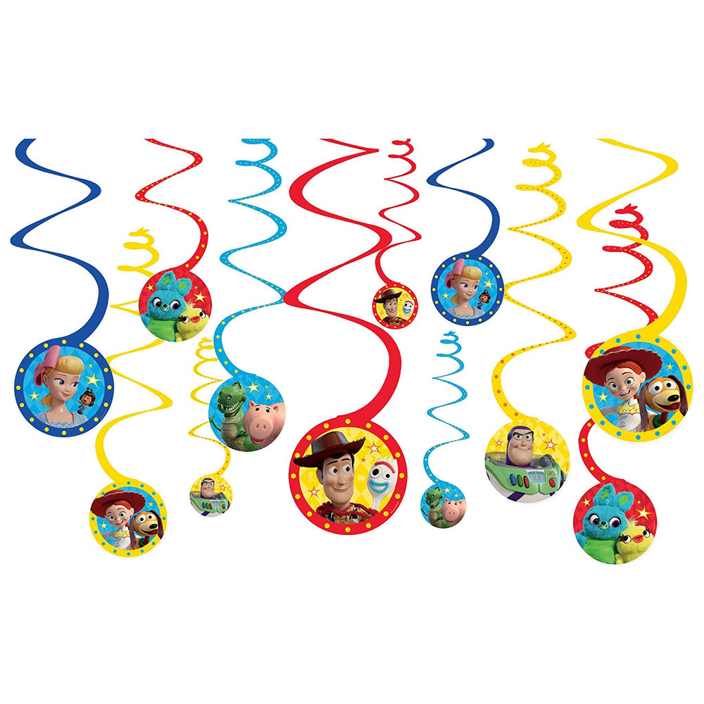 Toy Story 4 - 1x Swirl Decoration Birthday Party Supplies Dangler Pack of 12