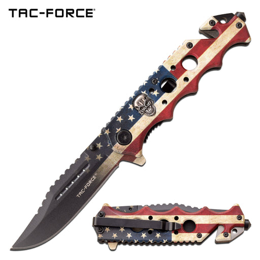 TAC-FORCE TF-809F SPRING ASSISTED KNIFE SKULL WORN AMERICAN FLAG ARTWORK ON BLADE
