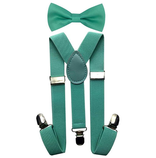 Kids Matching Set - Mint Green Teal Toddler Suspender and Bow Tie