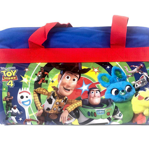 Disney Pixar Toy Story 4 600D Polyester Blue & Red Duffle Bag PVC with Side Panels