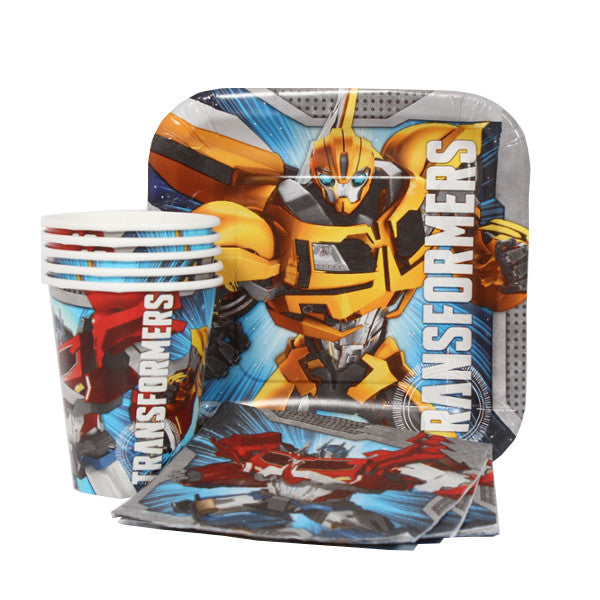 Transformers Combo Party Express Pack for 8 Guests (Cups Napkins & Plates)