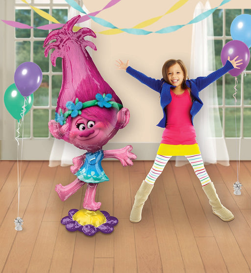 "Dreamworks Trolls Poppy Airwalker 23IN X 58 IN"" Birthday Party Jumbo Balloon"