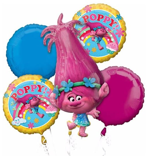 Anagram Trolls Princess Poppy & Friends Happy Birthday Balloon Bouquet 5pc