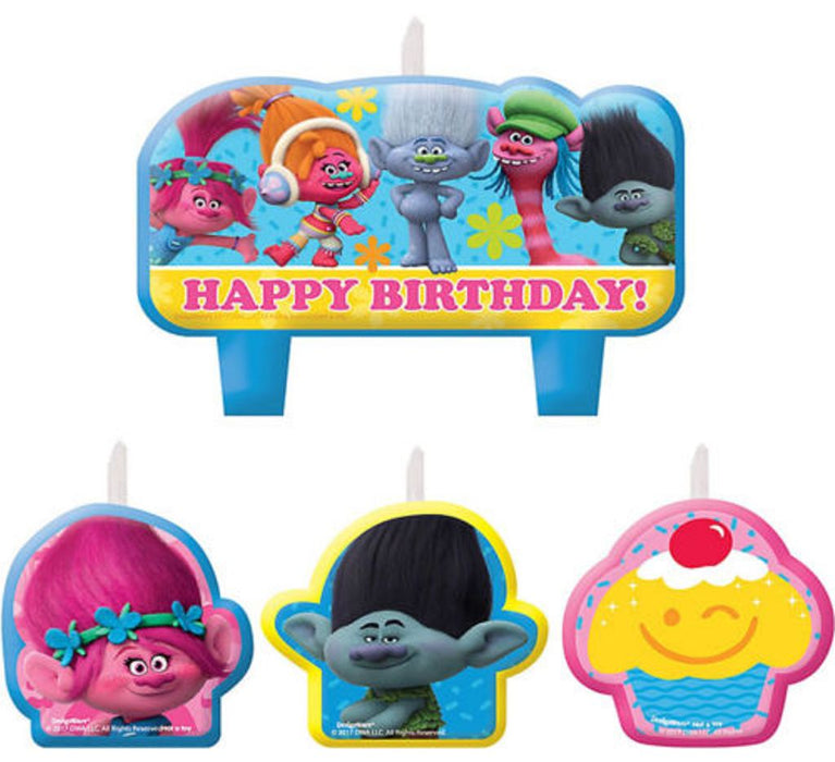 Trolls Princess Poppy & Friends Candle Set Birthday Party Decoration Supplies Cake Topper