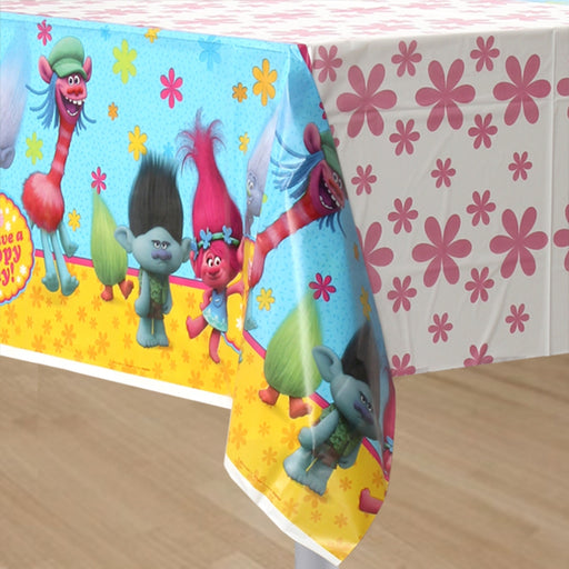 Trolls Princess Poppy & friends - Birthday Table Cover Measures 54 in x 96 in, 36 sq ft