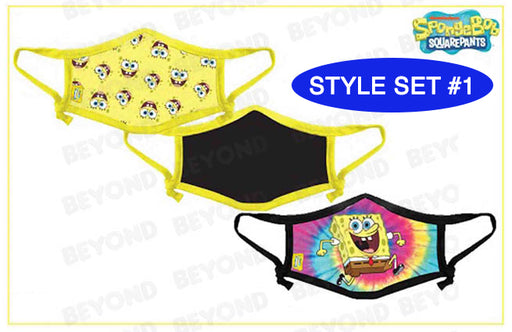 SPONGEBOB CLOTH FACE MASK 3 PACK - TIEDYE
