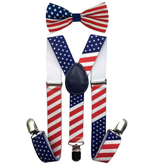 Kids Matching Set - USA Flag July 4th Toddler Suspender and Bow Tie