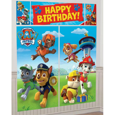 Paw Patrol - WALL BANNER DECORATING KIT 5pc + 12 Photo Props! photo background