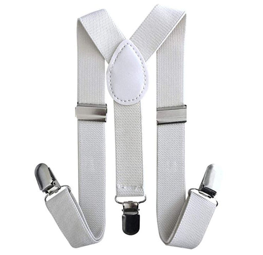 Kids Matching Set - White Toddler Suspender and Bow Tie