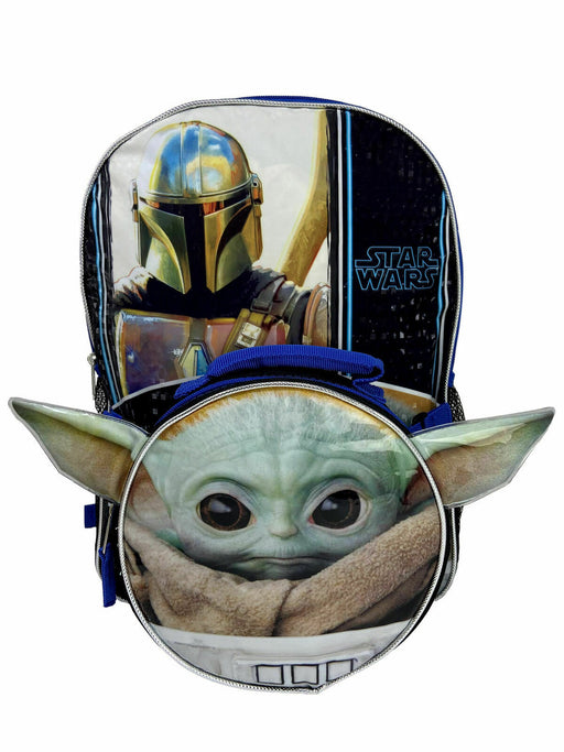 "The Mandalorian Baby Yoda THE CHILD 16"" Backpack - Detachable Insulated Shaped Lunch Bag"
