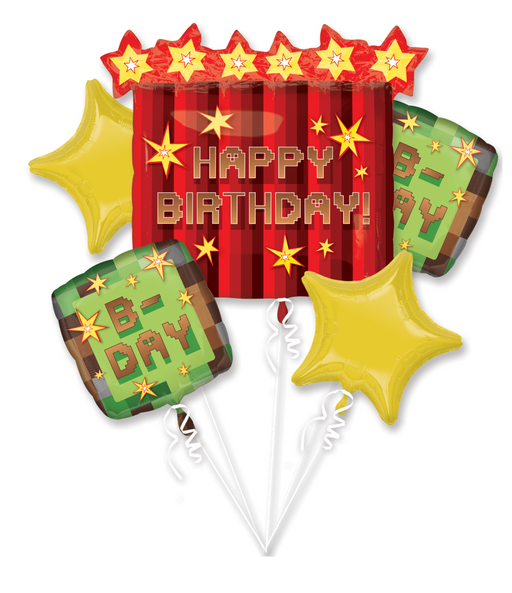 TNT Minecraft Happy Birthday Party Favor 5CT Foil Balloon Bouquet