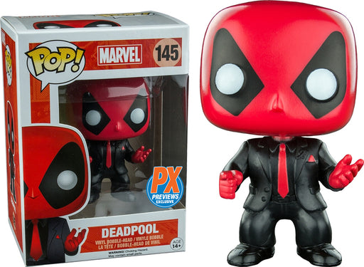 Pop Marvel - Deadpool In Suit #145 Vinyl Figure w/ POP Protector PX Previews Exclusive