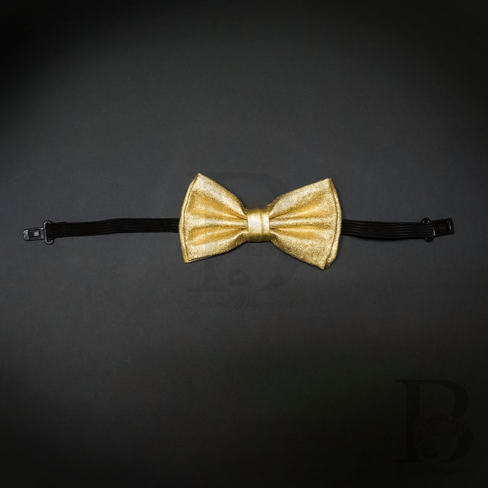 Soft Metallic Gold Matching Set Suspender and Bow Tie