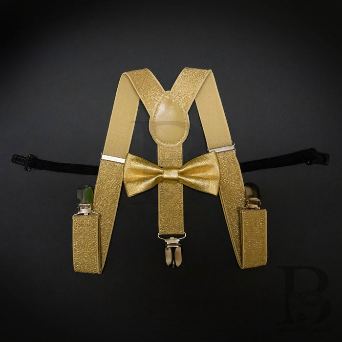 Kids Toddler Soft Metallic Gold Matching Set Suspender and Bow Tie