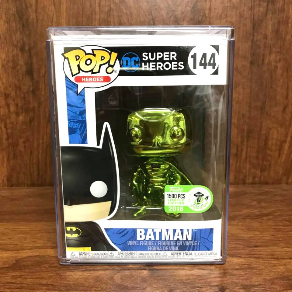 Pop Heroes : 2018 Emerald City Exclusive : BATMAN Green Chrome #144 Vinyl