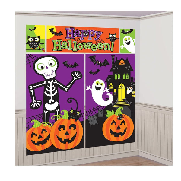 Halloween Skeleton and Spooky Castle Wall Banner Decoration Kit - 5pcs Set