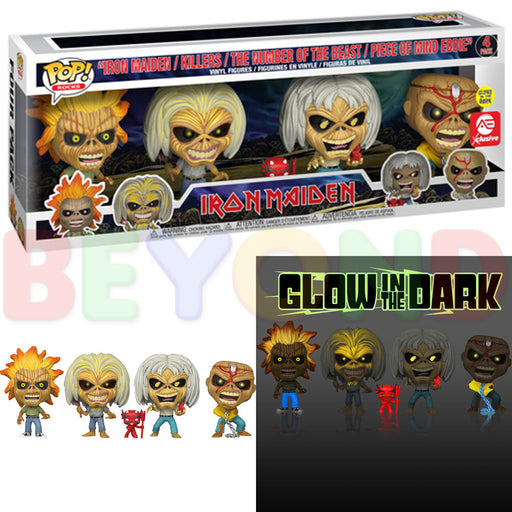 Funko Pop! Rocks: IRON MAIDEN (Glow in the Dark!) 4-Pack Collector's Set A.E. EXCLUSIVE!