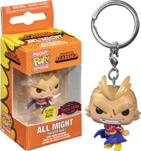 Pockeet POP! Keychain: My Hero Academia - All Might Vinyl Figure Keychain GLOW IN THE DARK