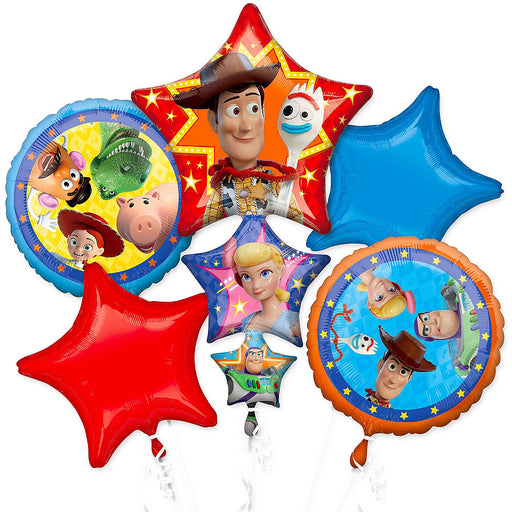 Disney Toy Story 4 Happy Birthday Party Favor 5CT Foil Balloon Bouquet NEW